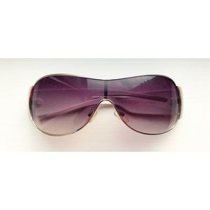 White & silver rose-tinted D&D shield sunglasses